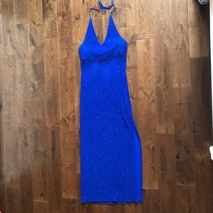 Beautiful blue sparkly halter maxi dress